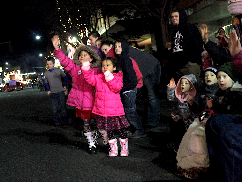 Girls in Crowd at Christmas Parade
