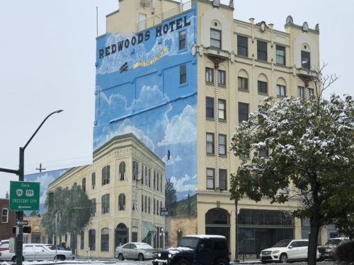 Redwood Tower mural by John Michener