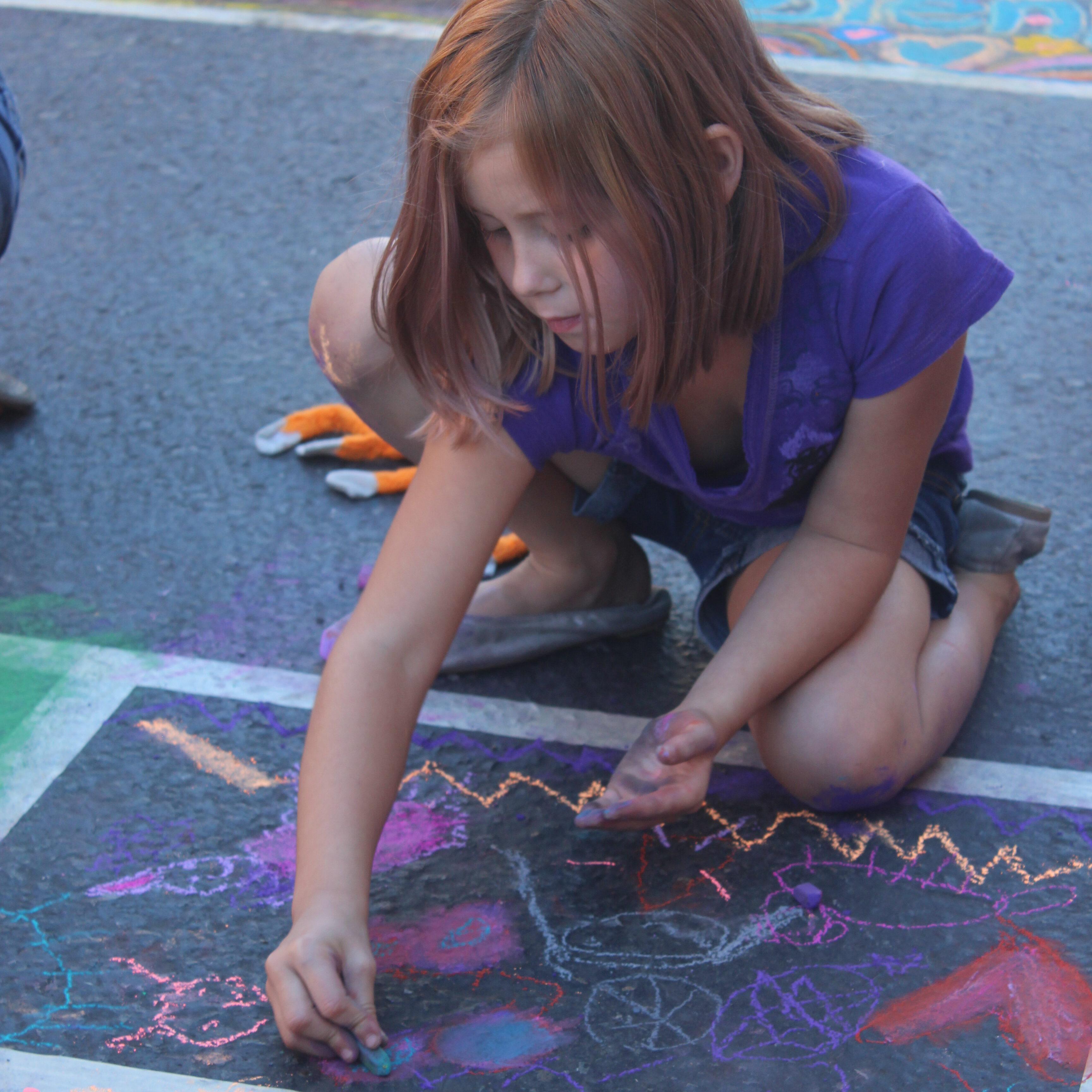 Girl Chalk Square